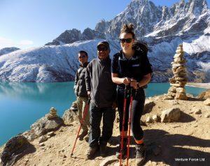 Trekkers by a lake in Nepal